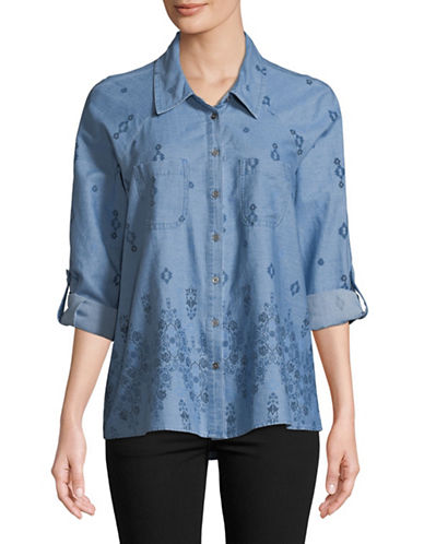 Style And Co. Tapestry Button-Down Shirt-BLUE-Medium
