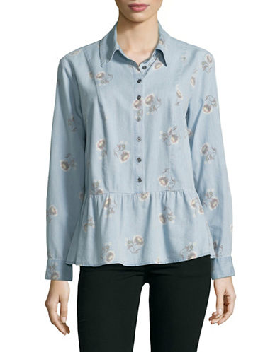 Style And Co. Floral-Print Collared Blouse-BLUE-Medium