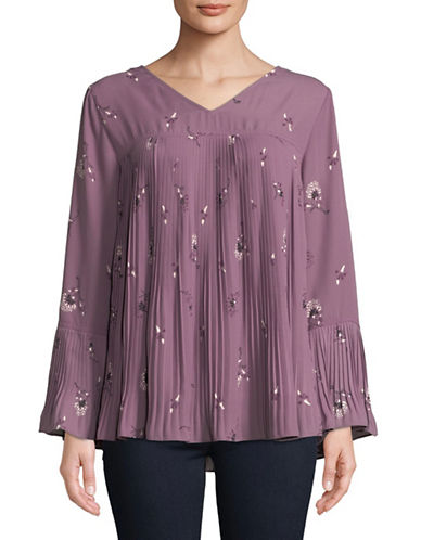 Style And Co. Blooming Twin Blouse-PURPLE-Small