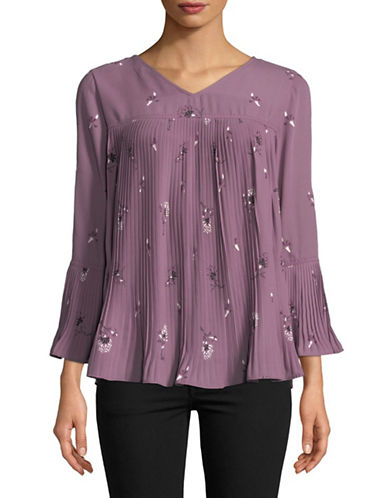 Style And Co. Petite Blooming Twin Blouse-PURPLE-Petite Small
