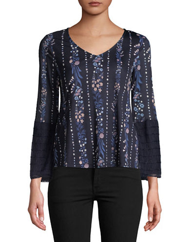 Style And Co. Petite V-Neck Long-Sleeve Tie Top-NAVY-Petite X-Small