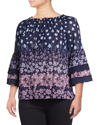 Style And Co. Plus Plus Lace-Trimmed Off-The-Shoulder Top-NAVY-2X