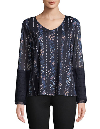 Style And Co. V-Neck Long-Sleeve Tie Top-NAVY-Small