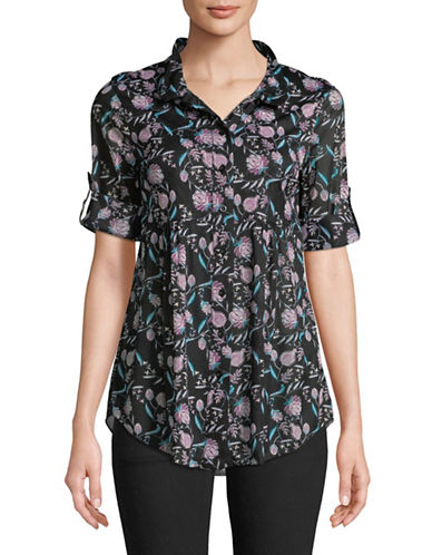 Style And Co. Printed Button Cuff Shirt-BLACK-Large