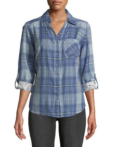 Style And Co. Fly Away Plaid Top-BLUE-Large