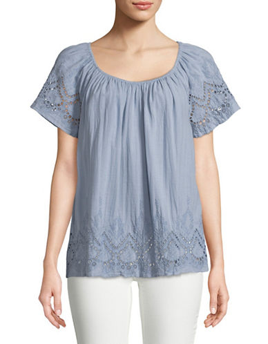 Style And Co. Eyelet Scoop Neck Cotton Top-BLUE-Medium