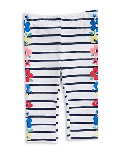 First Impressions Flower and Stripe Leggings-BRIGHT WHITE-6-9 Months