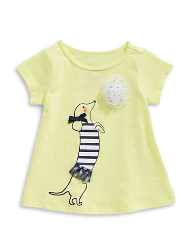 First Impressions Pom-Pom Dog Cotton Tee-YELLOW-24 Months