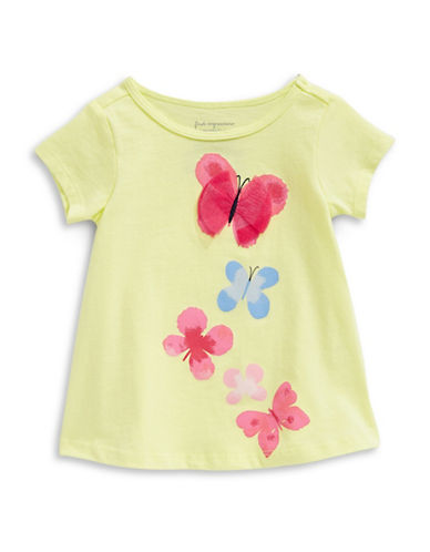First Impressions Butterflies Cotton Tee-YELLOW-6-9 Months
