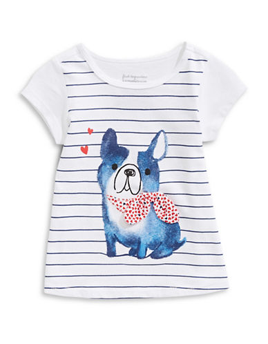 First Impressions Striped Dog Cotton Tee-BRIGHT WHITE-6-9 Months