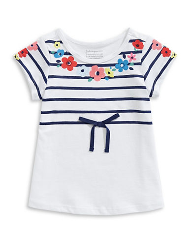 First Impressions Striped Flower Cotton Tee-BRIGHT WHITE-12 Months