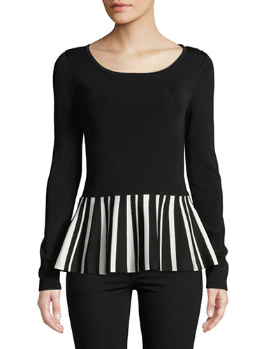 I.N.C International Concepts Stripe Peplum Top-BLACK-Medium