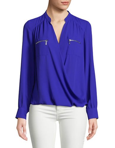 I.N.C International Concepts Surplice Long-Sleeve Blouse-BLUE-Large