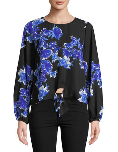 I.N.C International Concepts Floral Tie Front Blouse-BLUE-Small