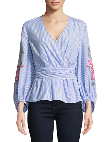I.N.C International Concepts Embroidered Wrap Shirt-BLUE-Large