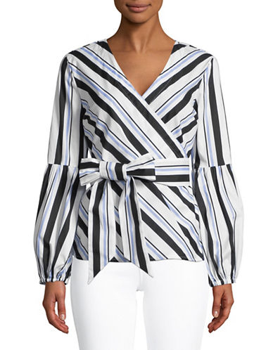 I.N.C International Concepts Stripe Surplice Blouse-WHITE-Large