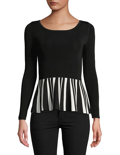 I.N.C International Concepts Petite Striped Peplum Top-BLACK-Petite X-Small