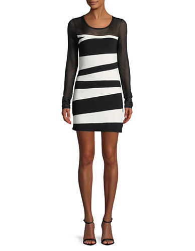 I.N.C International Concepts Petite Colourblocked Mesh Dress-BLACK/WHITE-Petite X-Small