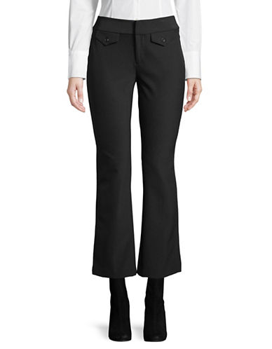 I.N.C International Concepts Petite Classic Flared Cropped Pants-BLACK-Petite 14