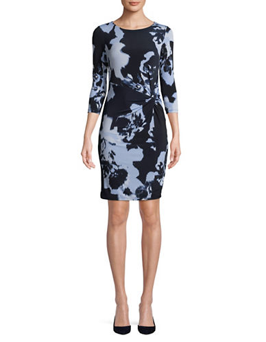I.N.C International Concepts Petite Printed Twist Front Dress-DEEP TWILIGHT-Petite Small
