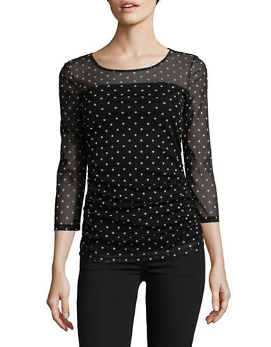 I.N.C International Concepts Ruched Mesh Top-BLACK-X-Large