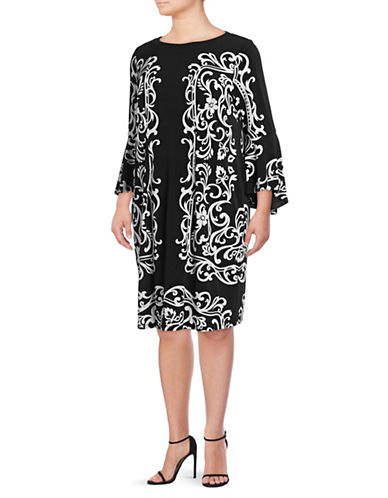 I.N.C International Concepts Plus Plus Mirror Bell-Sleeve Dress-BLACK-2X