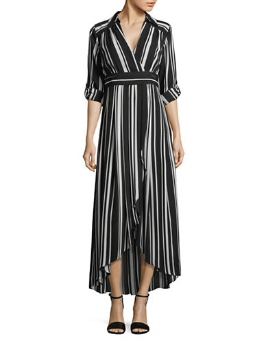 I.N.C International Concepts Striped Faux Wrap Maxi Dress-BLACK-2