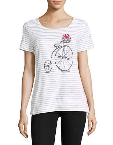 Karen Scott Striped Scoop Neck Cotton Tee-WHITE-Large 89789014_WHITE_Large