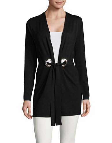 I.N.C International Concepts Long Sleeve Eyelet Cardigan-BLACK-Small 89823119_BLACK_Small