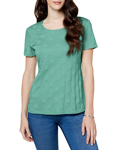 Karen Scott Embossed-Print Tee-GREEN-Medium 89876191_GREEN_Medium