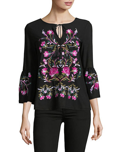 I.N.C International Concepts Embroidered Cold-Shoulder Top-BLACK-X-Large 89823175_BLACK_X-Large