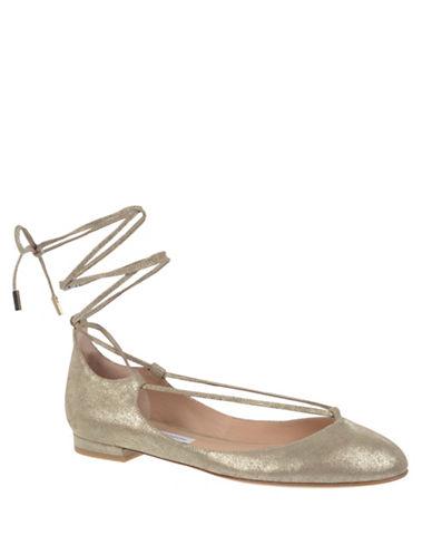 Diane Von Furstenberg Lace Up Glitter Flats-STORM-6