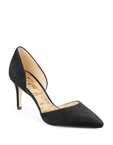 Sam Edelman Telsa dOrsay Suede Pumps-BLACK-5.5