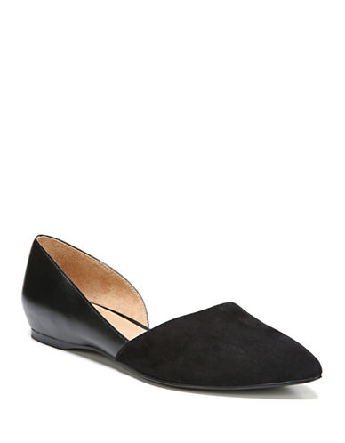 Naturalizer Samantha Leather and Suede dOrsay Flats-BLACK-8.5