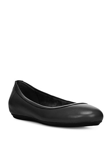 Naturalizer Brittany Leather Ballet Flats-BLACK-6W