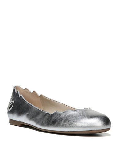 Sam Edelman Finnegan Leather Ballet Flats-SILVER-8.5