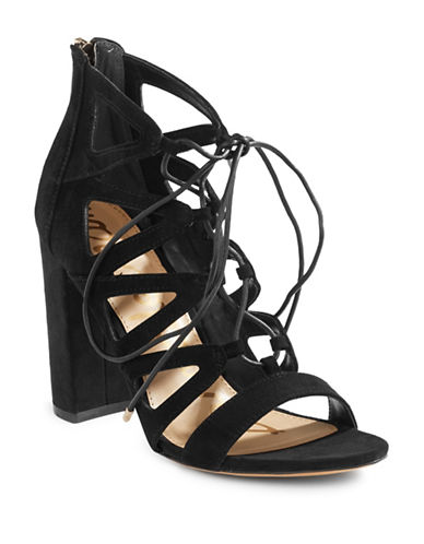 Sam Edelman Yona Suede Sandals-BLACK-8.5