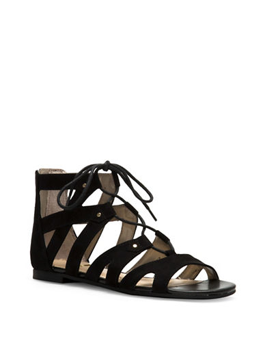 Circus By Sam Edelman Hagan Gladiator Micro-Suede Sandals-BLACK-7