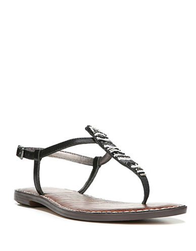 Sam Edelman Grace Leather Flat Sandals-BLACK-8