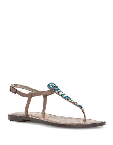 Sam Edelman Grace Leather Flat Sandals-PUTTY-5.5