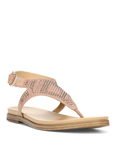 Naturalizer Kelsie Studded Flat Thong Sandals-TAN-7.5