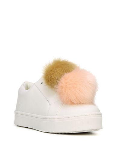 Sam Edelman Leya Pom-Pom Suede Sneakers-WHITE PINK-7.5