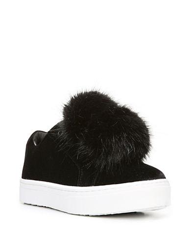Sam Edelman Leya Pom-Pom Velvet Sneakers-BLACK-8.5