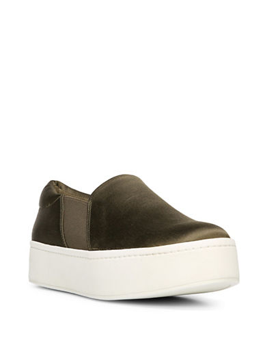 Vince Warren Slide-On Platform Sneakers-OLIVE-7.5