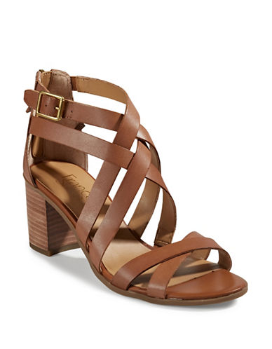 Franco Sarto Hachi Strappy Leather Sandals-SADDLE-9