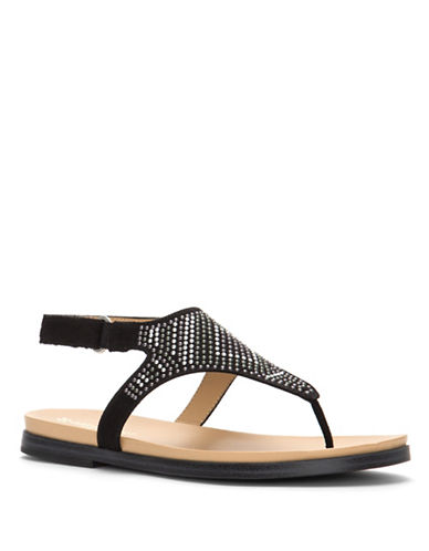 Naturalizer Kelsie Studded Flat Thong Sandals-BLACK-7.5