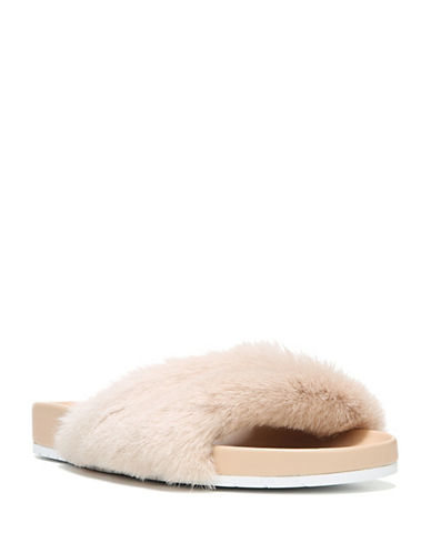 Vince Garrison Fluffy Leather and Sheep Fur Slide Sandals-PINK-6