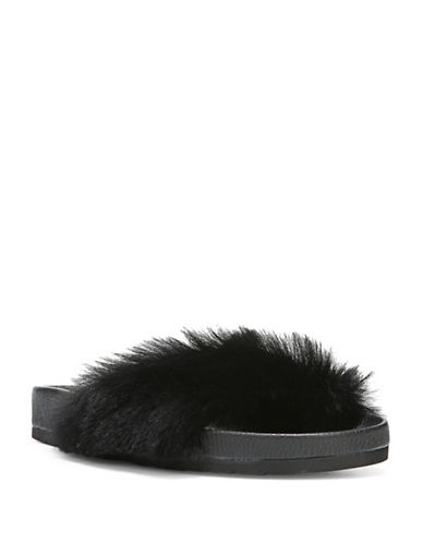 Vince Garrison Fluffy Leather and Sheep Fur Slide Sandals-BLACK-8.5