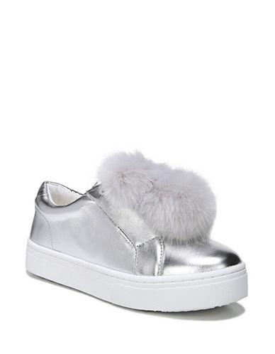 Sam Edelman Leya Pom-Pom Metallic Sneakers-SILVER-8.5