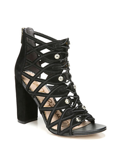 Sam Edelman Yeager Caged Military Suede Sandals-BLACK-7.5